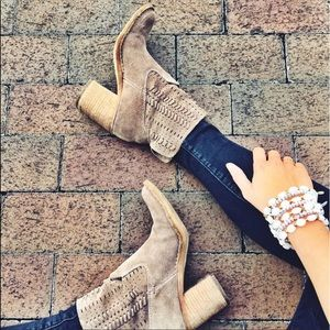 Whipstitched Slouchy Perforated Block Heel Booties